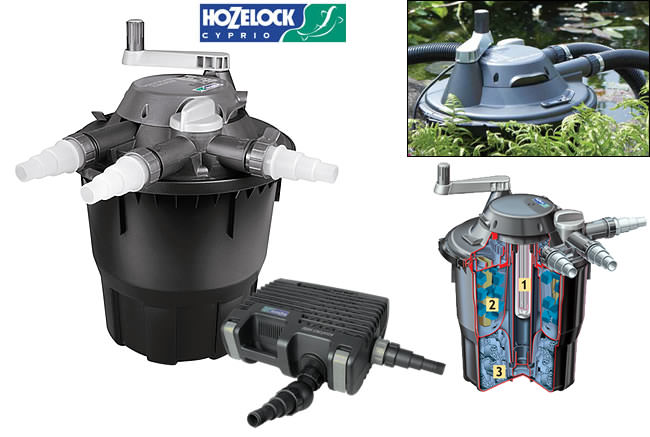 Hozelock bioforce revolution pond filter kits water for Pond pump and filter combined