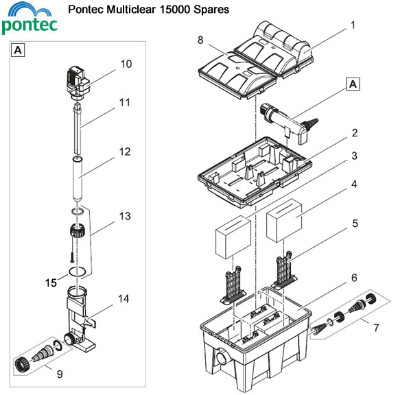 pontec multiclear 15000 pond filter spare parts water