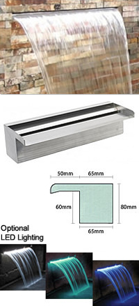 Sheer Descent 750mm - Bottom Entry Stainless Steel Water Blade (U)
